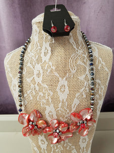 Pretty Necklace Set in with Coral flowers and Crystals & Silver Beads - You-nique Bou-tique