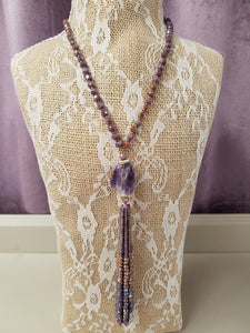 Gorgeous Tassel Necklace Featuring an Amethyst Crystal - You-nique Bou-tique