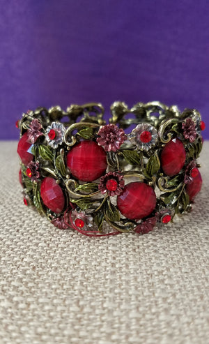 Bright Cherry Red Stones Set in Antique Brass - You-nique Bou-tique