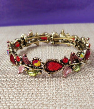 Stunning Bracelet with Red Teardrops and Iridescent Rhinestones - You-nique Bou-tique