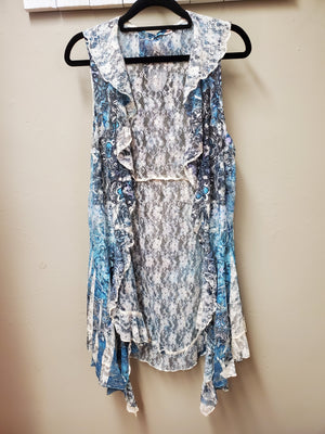 Stunning Sheer Lace Vest with Sublimation Print - You-nique Bou-tique