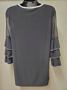Sophisticated Black Tunic Trimmed with White - with Sheer & Tiered Sleeves - You-nique Bou-tique