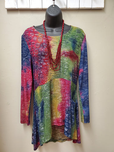 Cute Mixed Color High Low Tunic with Pockets - You-nique Bou-tique