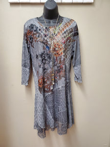 Fantastic Floral Motif on Grey Mixed Media Tunic - You-nique Bou-tique