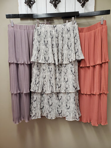 9 Color Ways - Lovely Tiered Midi Length Skirt - You-nique Bou-tique