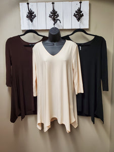 BEST SELLER NEUTRALS - Flattering Fit & Flair Tunic with 3/4 Sleeve - You-nique Bou-tique