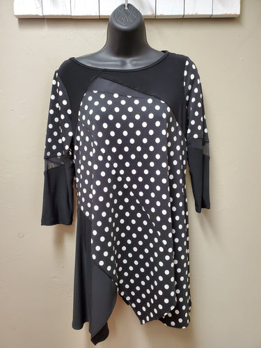 Classic Polka Dot Asymmetrical Tunic with Sheer Net Cutouts