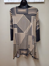 Lovely Geometric Tunic in Mocha & Black with Sheer Net Cutouts