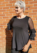 Sophisticated Black Tunic Trimmed with White - with Sheer & Tiered Sleeves