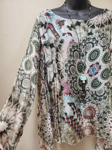Italian Silk Print Top with Long Sleeves