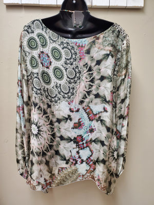 Italian Silk Print Top with Long Sleeves - You-nique Bou-tique