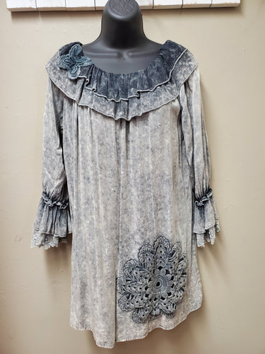 Antiqued Grey Top with Ruffle Neckline & Sleeve with Lace Cuff