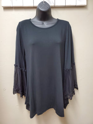 3 Color Ways - Simple Jersey Top with Gorgeous Lace Bell Sleeves - You-nique Bou-tique