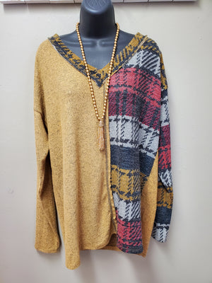 V Neck Mustard & Multi Color Long Sleeve Tunic - You-nique Bou-tique