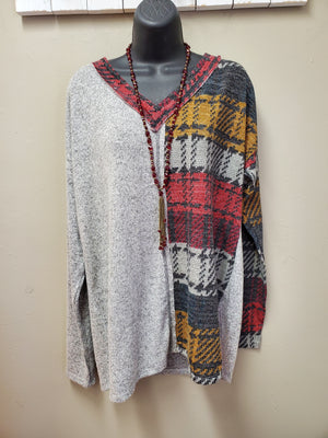 V Neck Grey & Multi Color Long Sleeve Tunic with a Cashmere Feel - You-nique Bou-tique