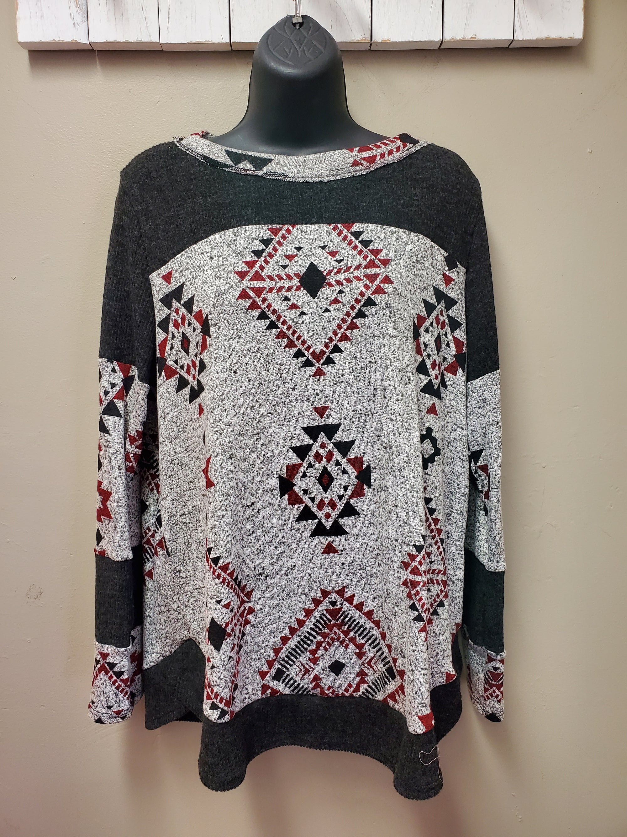So Cozy Print & Color Blocked Long Sleeve Casual Top - You-nique Bou-tique