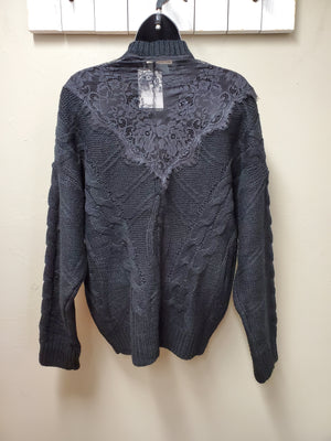 Gorgeous Black Knit Sweater with Pretty Design Details & Sheer Lace Insets - You-nique Bou-tique