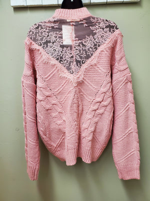 Gorgeous Pink Knit Sweater with Pretty Design Details & Sheer Lace Insets - You-nique Bou-tique