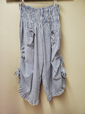 4 Color Ways - One Size Cute Cotton Pinstripe Pant with Adjustable Gathered Side Hem - You-nique Bou-tique