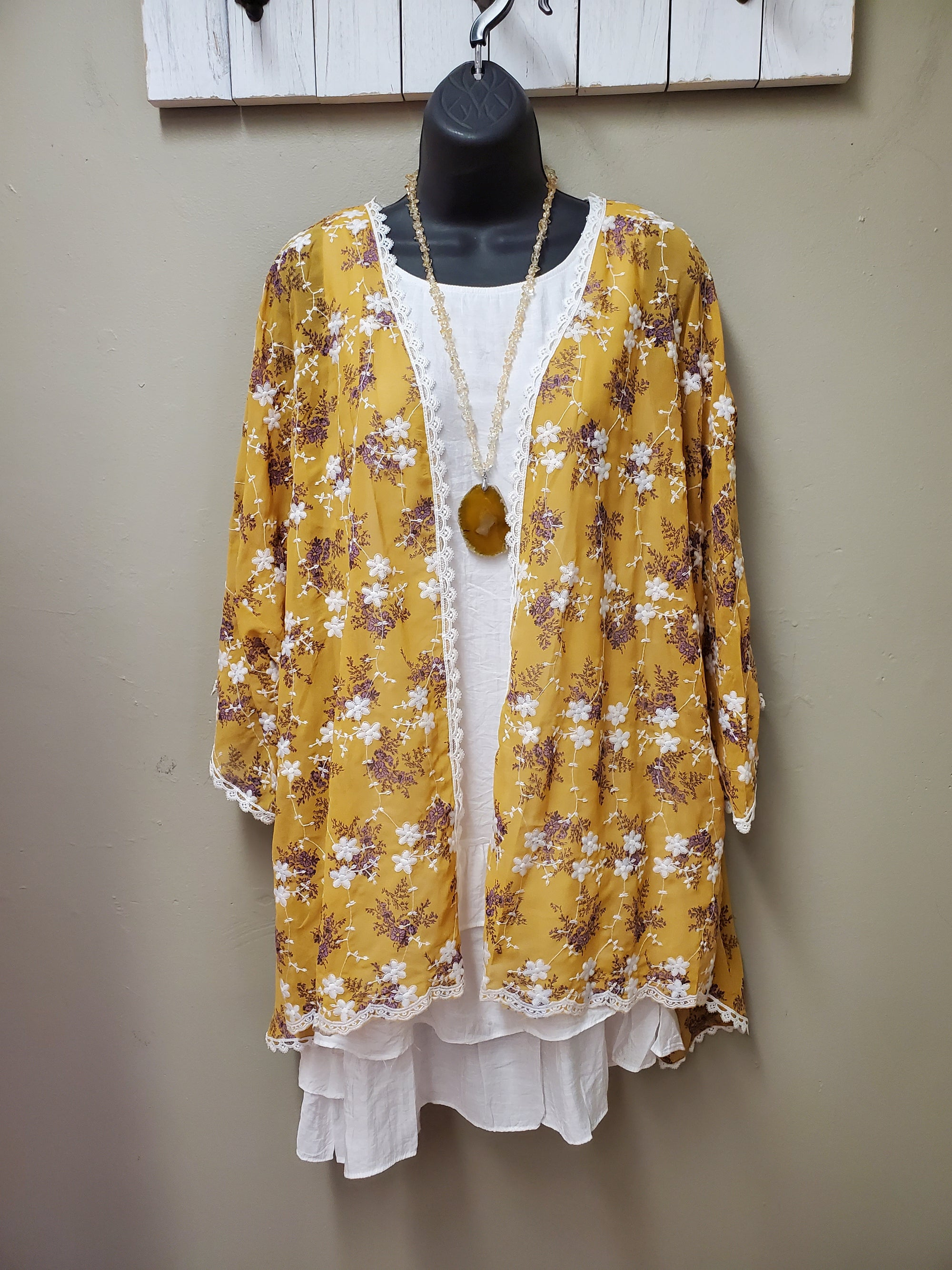 Small Embroidered Floral Motif on Mustard Kimono - You-nique Bou-tique
