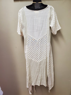 Polka Dot & Stripes Paneled Dress with Sleeves - You-nique Bou-tique