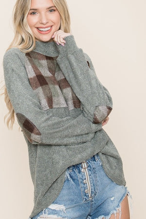 Stylish Plaid/Solid Tunic with Button Neck Detail & Elbow Patches - You-nique Bou-tique
