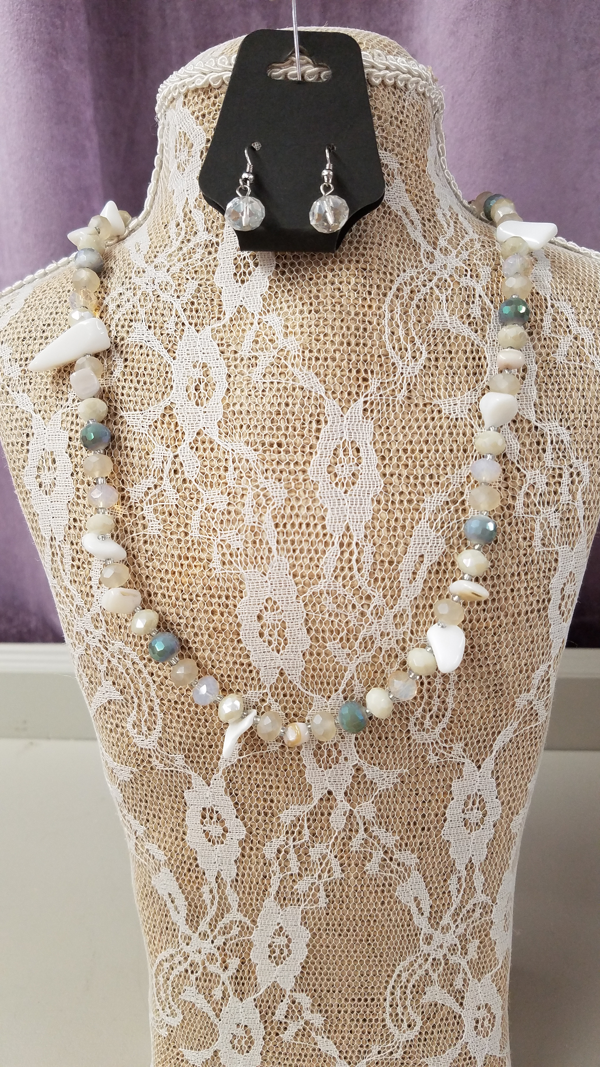 Beautiful Necklace Set with Grey's, Beige & Ivory Beads - You-nique Bou-tique