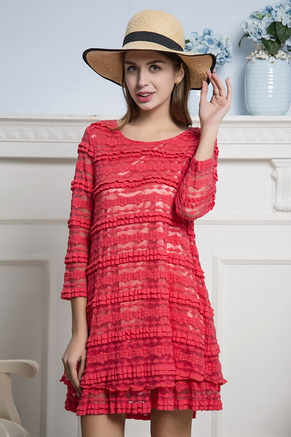 Shimmering in Coral - Ruffle Tunic or Dress with 3/4 Sleeves - You-nique Bou-tique