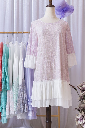 Gorgeous Lavender Lace Dress with Ruffle Bell Sleeves & Hem - You-nique Bou-tique