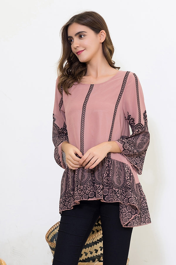 Beautiful 1920's Motif Black Print on Mauve Background with Bell Sleeves - You-nique Bou-tique