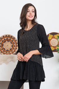 Soft Knit Mix Fabric Tunic with Ruffle Accent