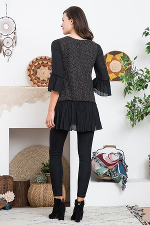Soft Knit Mix Fabric Tunic with Ruffle Accent - You-nique Bou-tique