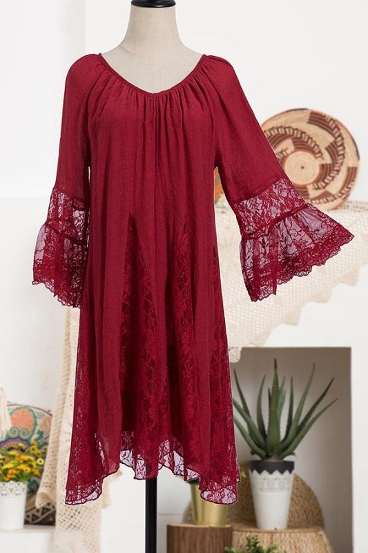 Christmas Crimson Pretty Dress with Lace Bell Sleeves & Lace Darts - You-nique Bou-tique