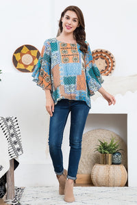 2 Color Ways - Pretty Print Top with Bell Sleeves