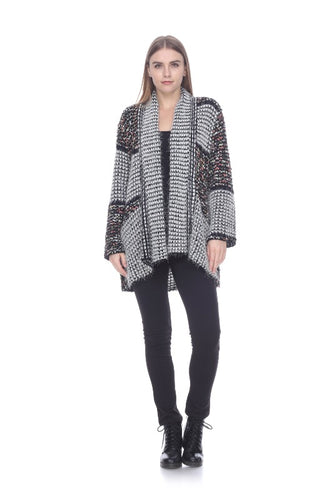Cozy Acrylic Sweater Cardigan in Black /White & Multi Color Patches