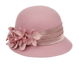 3 Color Ways - Stylish Cloche Hat with Floral Accents with Adjustable Band - You-nique Bou-tique