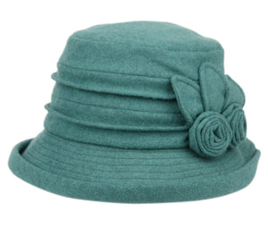 4 Color Ways - Soft Cloche Hat with Floral Accents and Adjustable Band - You-nique Bou-tique