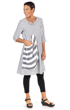 BEST SELLER - Introducing our Pocket Dress in Grey Stripe Cotton - You-nique Bou-tique