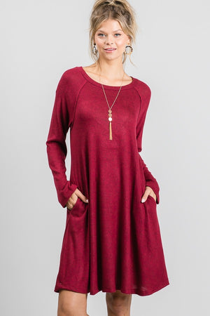 Long Sleeve Burgundy Dress with Pockets & Perfect for Layering - You-nique Bou-tique