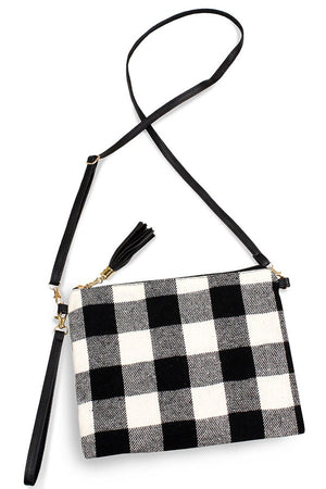 Buffalo Plaid Fabric - Flat Crossbody Purse with Tassel Zipper Pull - You-nique Bou-tique