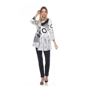 Abstract 3 Button Tunic or Jacket with Asymmetrical Hemline & Pockets