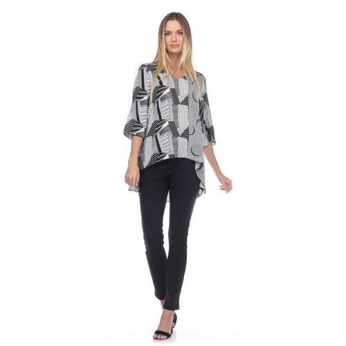 Semi Sheer Abstract Black & White High Low Top