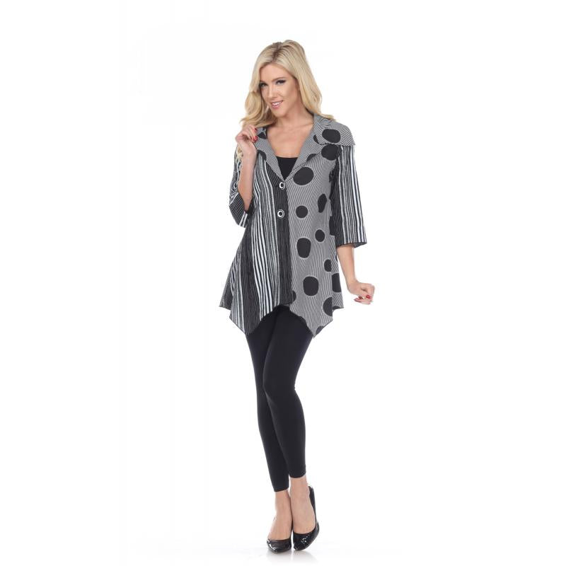 Classic Black & White Abstract Print 2 Button Tunic or Jacket - You-nique Bou-tique