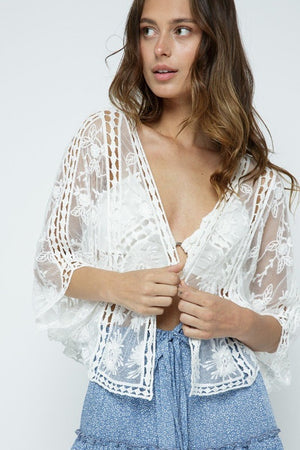 Lovely Short Sheer Lace Jacket - One Size - You-nique Bou-tique