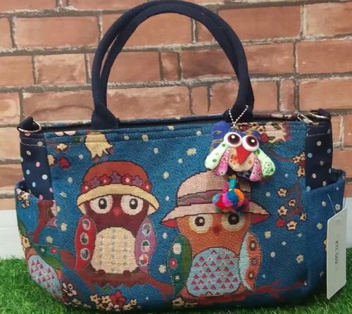 Adorable Owl Tote with Purse Charm & Zippered Top - You-nique Bou-tique