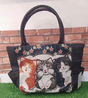 Adorable Kitten Tote with Purse Charm & Zippered Top - You-nique Bou-tique