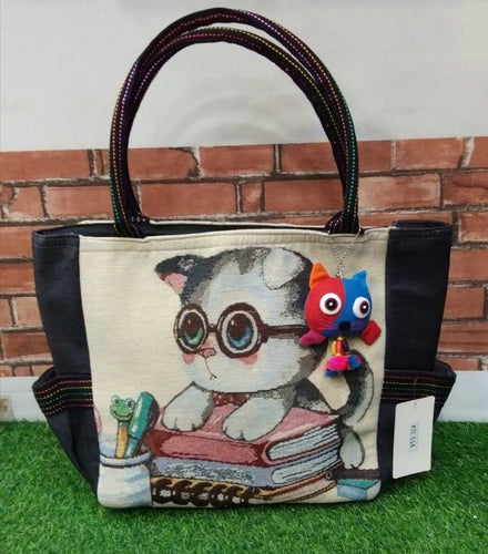Adorable Cat Student Tote with Purse Charm & Zippered Top - You-nique Bou-tique