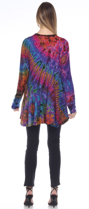 Colorful Tie Dye Jacket with Long Sleeves - You-nique Bou-tique