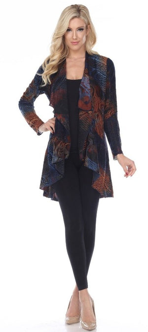 Deep Rich Tones Are Perfect in this Mixed Media Textured Waterfall Front Jacket - You-nique Bou-tique