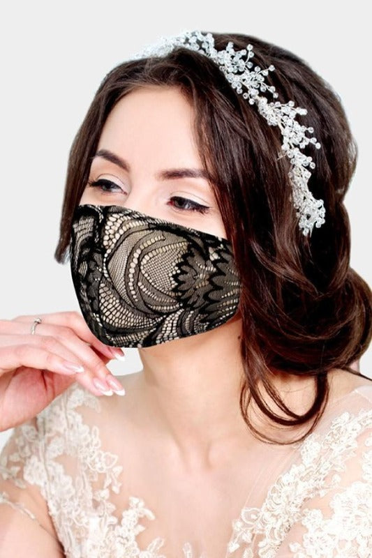 Beautiful Black & Taupe Lace Face Mask with Adjustable Ear Loops - You-nique Bou-tique